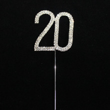 Crystal Cake Topper Number 20th 21th 25th 30th Birthday Wedding Anniversary Cake Decoration Centerpieces