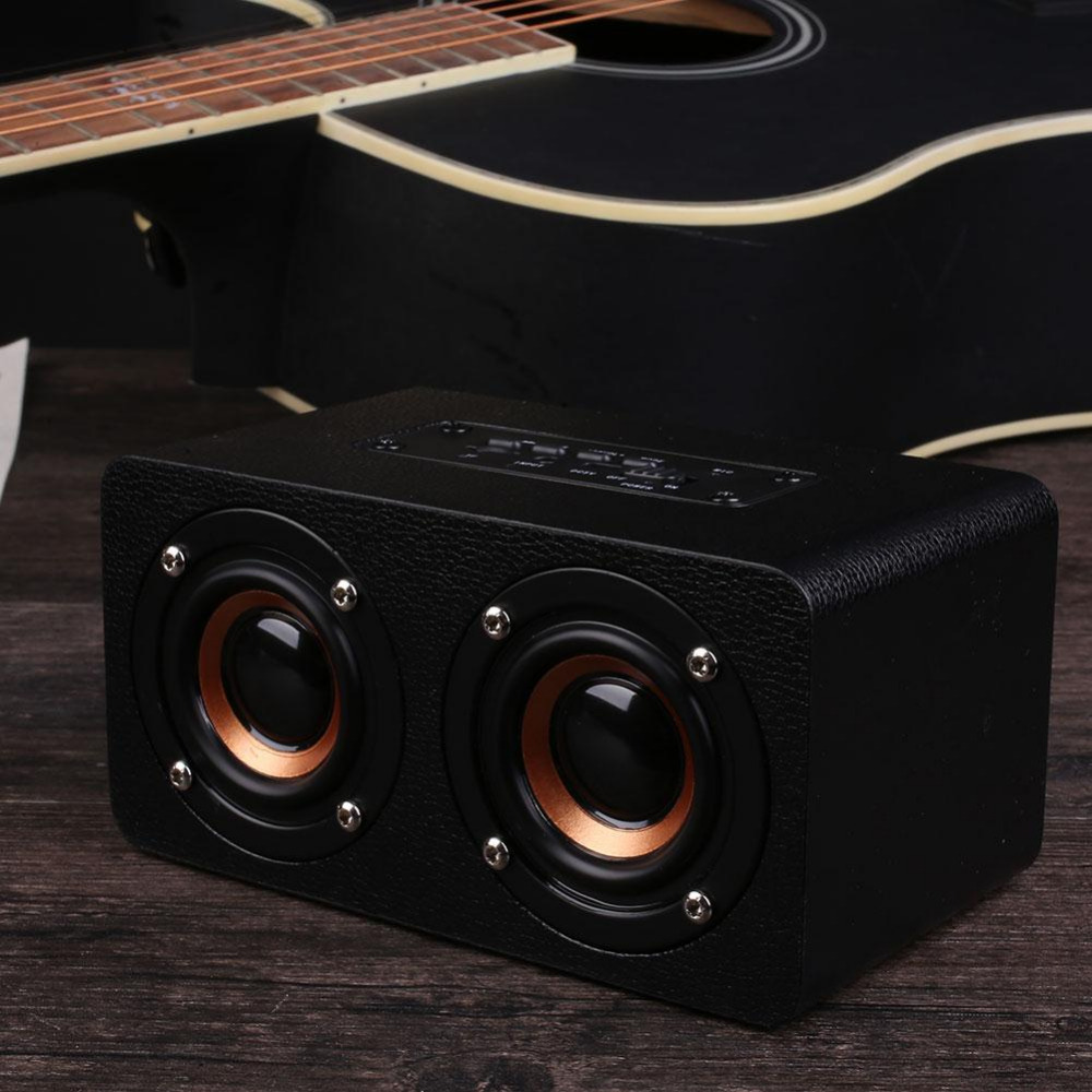 BCMaster Portable Outdoor Wooden Wireless Bluetooth Speakers 4.1 Subwoofer Support FM Radio Entertainment Support TF card