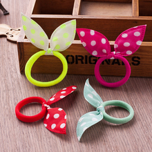 30pcs Hot Sale Fashion Girls Hair Band Polka Dot Bow Rabbit Ears Elastic Hair Rope Ponytail Holder Hair Accessories Headband(China)