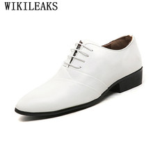 2017 designer wedding shoes man leather white oxford shoes for men formal mariage mens pointed toe dress shoes sapatos masculino(China)