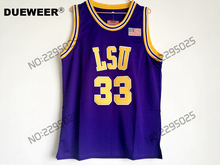 DUEWEER Mens Shaquille O'neal Throwback Basketball Jersey Shaq Oneal #33 LSU Tigers College Jerseys Yellow Purple Retro Shirts(China)
