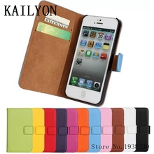 KAILYON Real Luxury Genuine Leather Case For iphone 5 5S 5G Wallet Design Flip Stand Book Style For iPhone5 Mobile Phone Cover B