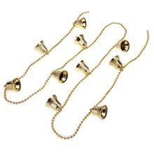 1.2m Christmas Tree Chain Bell Pendant Christmas Decorations for Home Xmas Tree Ornament Supplies(Gold)