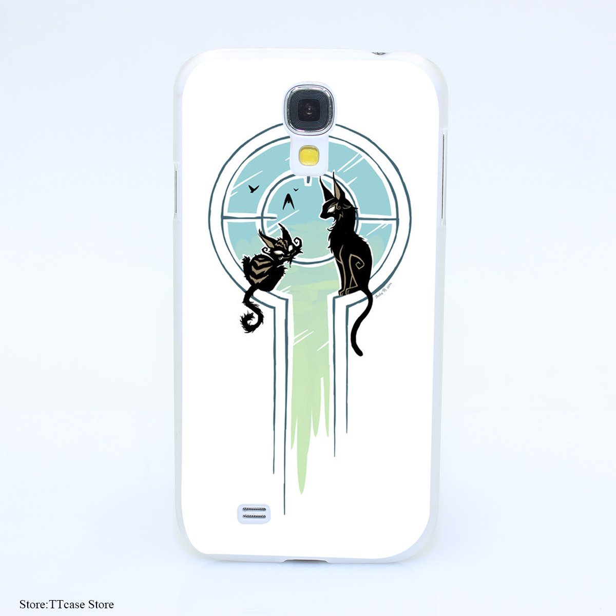 4075CA Window Cats Hard Transparent font b Case b font Cover for Galaxy S2 S3 S4