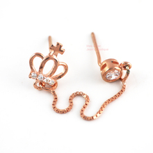 925 Sterling Silver Rose Gold Tone Crown CZ Stud Earrings (1 earring only) A1944(China)
