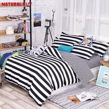 Newest Black and white stripes Geometric Pattern Polyester Bedding Sets Hot Sales Duvet Cover Set Bed sheet Full/Queen Size