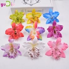 10pcs/lot 7.5cm Silk Gradient Orchid Artificial Flower Head For Wedding Decoration DIY Wreath Gift Scrapbooking Fake Flower(China)