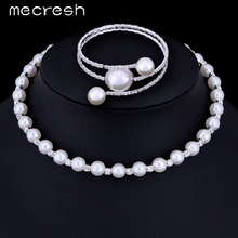 Mecresh Elegant Round Simulated Pearl Necklace Bracelets Bridal Jewelry Sets Wedding Party Christmas Gift XL006-M+SL105(China)