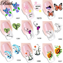Bittb 1Pcs Flower Water Transfer Nail Sticker Nails Beauty Decals Temporary Tattoos DIY Fingernail Tips Decorations Accessories(China)