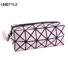 Unistyle Geometric Zipper Cosmetic Bag Women Laser Flash Diamond Leather Makeup Bag Ladies Cosmetics Organizer Storage