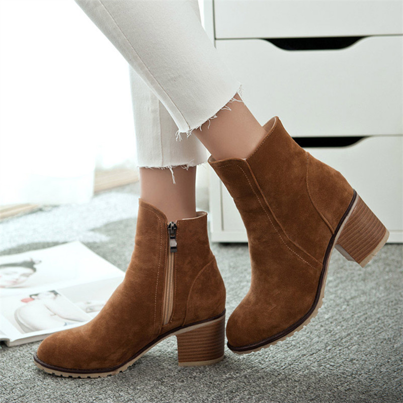 plus size 34-43 Autumn winter warm women Ankle boots Square high heels Snow Boots Side zipper Martin boots Casual Pumps Shoes<br>