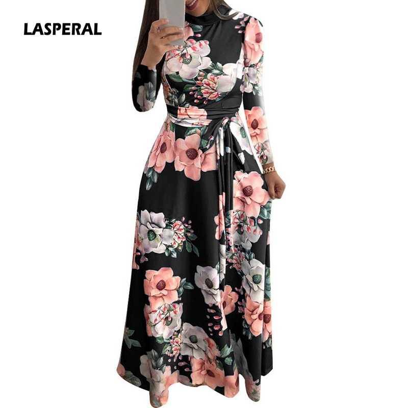 81aab2defee4 LASPERAL 2019 Long Dress Floral Print Boho Beach Dress Tunic Maxi Dress  Women Evening Party Dress