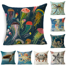decorUhome Marine Cotton Linen Pillow Cover Ocean Octopus Jellyfish Cushion Cover Decorative Throw Pillow Case Sofa Home Decor