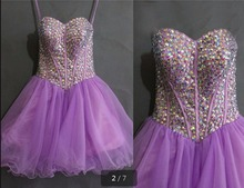 2016 short purple a line beading crystals prom dress short petite informal prom gowns best selling prom dresses hot sale