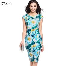2017 New Fashion Summer Women Floral Print Silk Long Sexy Casual Pencil Comfortable Cheap Office Boho Red Black Beauty Dress