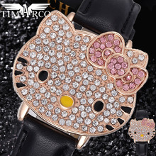 Hello kitty Enfant Ceasuri Cute Pink Pupil Dress Saats Luxury Rhinestones Rejores Mujer Fashion Cartoon Crystal Children Watches