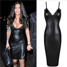 Celebrity Fashion Sleeveless Black Sling V-Neck Lace Leather Dress  Sexy Slim Party Dresses