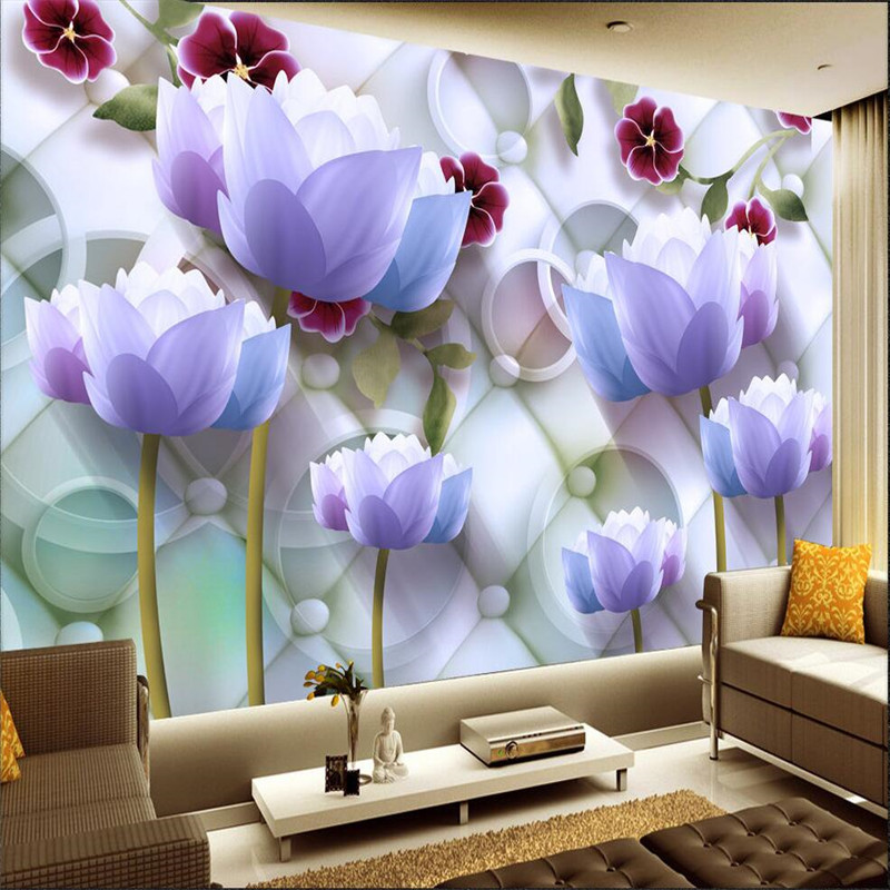 Modern Background Large Painting Lotus Circle Soft Pack Murales De Pared 3d Wallpaper Hotel Badroom Mural for Living Room<br><br>Aliexpress