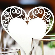 50pcs/set Wedding Table Decoration Heart Shape Wine Glass Paper Cards Escort Cup Name Place Card Birthday Party Supplies(China)