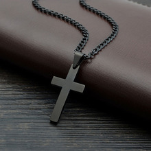 Summer Love Black Jesus Cross Necklaces & Pendants For Women Men Gifts Collier 2017 Fshion Stainless Steel Jewelry Cruz Colgante(China)