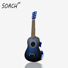 SOACH high quality 21 inch acoustic guitar black blue shirt wood 6 string wood children playing musical instruments beginner