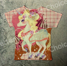 Track Ship+New Vintage Retro Cool Rock&Roll Punk T-shirt Top Tee Elegant Dream Pink Unicorn Horse Printed 0046