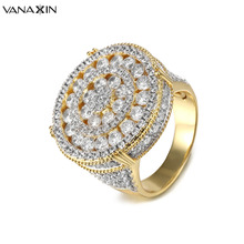 Buy VANAXIN CZ Inlaid Crystal Round Rings Gold/Silver Color Hip Hop Fashion Round Rings Men Engagement Wide Bling Bling Jewelry Gift for $16.00 in AliExpress store