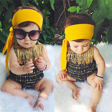 Summer Beach Babies Swimwear Golden Arrows Pattern Infant Girls One Piece Swimsuits Black Backless Halter Toddler Bathing Suits(China)