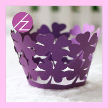 50pcs/lot free shipping Laser cut paper Manufacture cupcake wrapper flower print design decorative paper cups DG-73(China)
