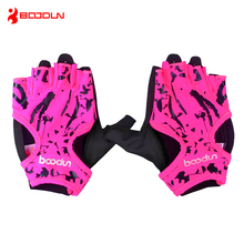 Brand Fitness Gloves Women Floral Yoga Weightlifting Gloves Half Finger Female Dumbbell Sport Gym Gloves AGB124(China)