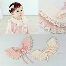 Hot Toddler Girl Kids Fake False Collar Baby Cute Sweet Lace Cotton Detachable Tie Ribbon Choker Pink Beige(China)