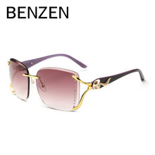 BENZEN Luxury Sunglasses Women Brand Designer UV Female Sun Glasses Ladies Shades Accessories Black With Case 6195(China)