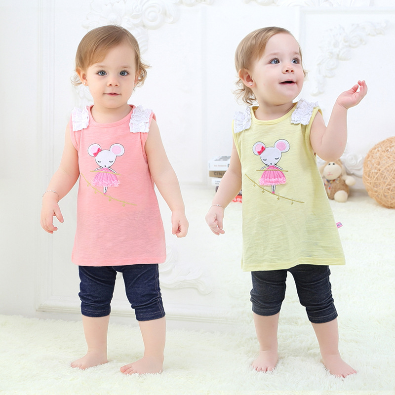 Girls Baby Cotton Slub Cotton Vest Suit Children Two Suit Childrens Clothing Top and Short Babygirl Clothing Print V-0011<br><br>Aliexpress