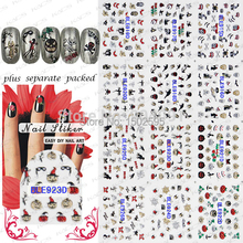 2015 HOTSALW 20 Sheet/LOT 3D glitter Halloween nail sticker stickers for nails NAIL ART +Separate Packed