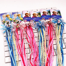 New 1PCS Hair Accessories Princess Elsa Anna Elastic Hair Bands Flower hair rope Pink/blue Headwear Party Gifts For Girls(China)