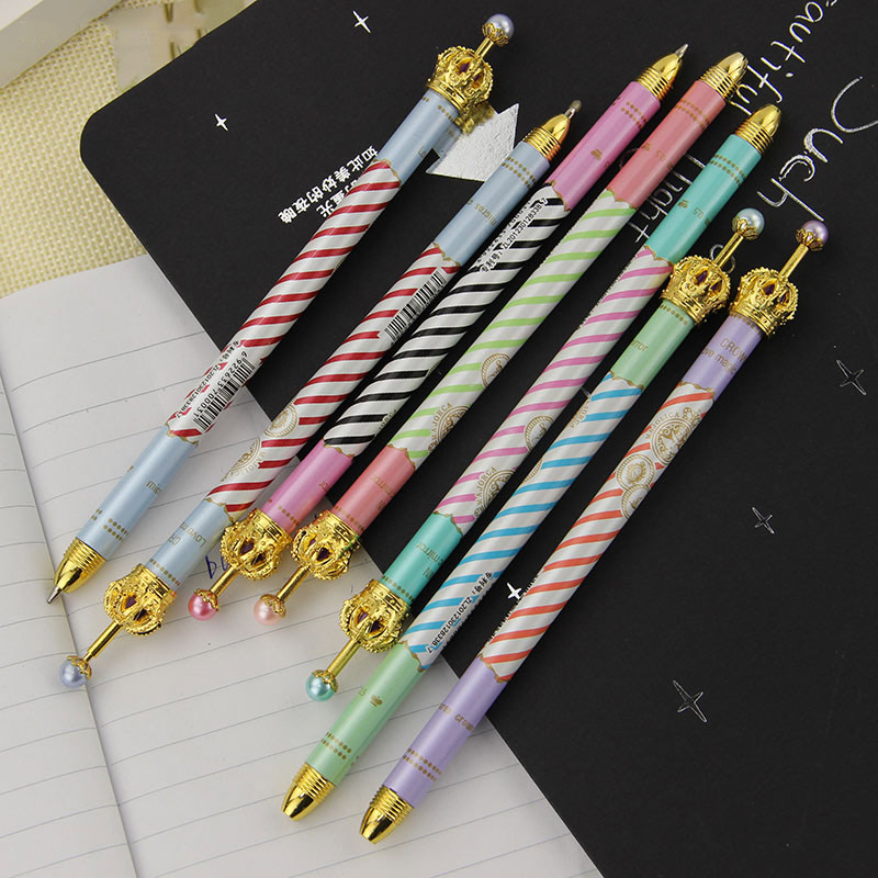 2PCS 0.5mm Colorful Stripes Metal Crown Pen Gel Pen Ballpoint Pen Writing Stationery School Office Supplies 6 Colors(China)