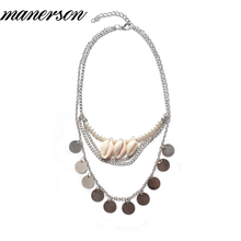 Manerson Antique Silver Toned Statement Necklace Features Classic Bib Design With Coin& Sea Shell Pendants Ancient Maxi Necklace(China)