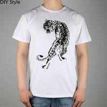 the traditional Southern Shaolin Tiger & Crane T-shirt Top Lycra Cotton Men T shirt New DIY Style