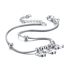 Sterling silver anklets.Fashionable woman solid 925 silver anklets.Cute girl anklets.Simple snake chain silver jewellery(China)