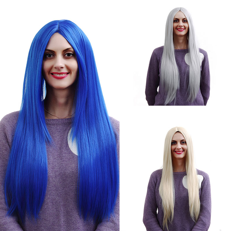 Sexy Fashion High Quality Womens ladies Long hair wigs Silver white Blue Light blonde wig Natural Hair wigs Free wig cap<br><br>Aliexpress