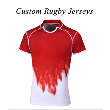 Wholesale Customized 100% Polyester Breathable Mens & Women XS-4XL Size Sublimated Collage Exercise Training Rugby Jersey