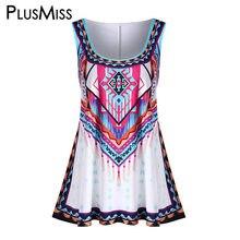 f670d9cfe86 PlusMiss Plus Size 5XL 4XL Summer 2018 Bohemian Long Tank Top Women Clothes  Big Size Ethnic Print Boho Beach Loose Vest Ladies