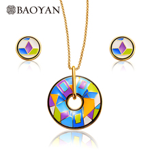 Romantic Bohemia Geometric Round Cute Ladies 316L Stainless Steel Costume Jewelry Necklace Earring Set Jewellery Sets for Women(China)