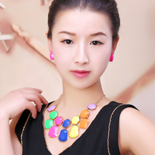 Resin  Colorful lovely alloy necklace Bohemia style leisure Party Girl Fashion Necklace Earrings suite Can wholesale goodquality