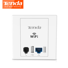 Tenda W6 Wireless N300 Wall Plate Access Points, Client+AP, 300Mbps Indoor Wall WiFi Repeater, USB2.0 RJ11, PPTP L2TP 12 Clients