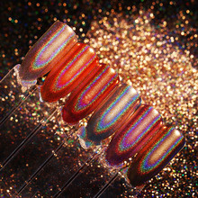 Champagne Holographic Nail Glitter Mirror Rainbow Rose Gold Holo Chrome Pigment Manicure Nail Art Decorations(China)