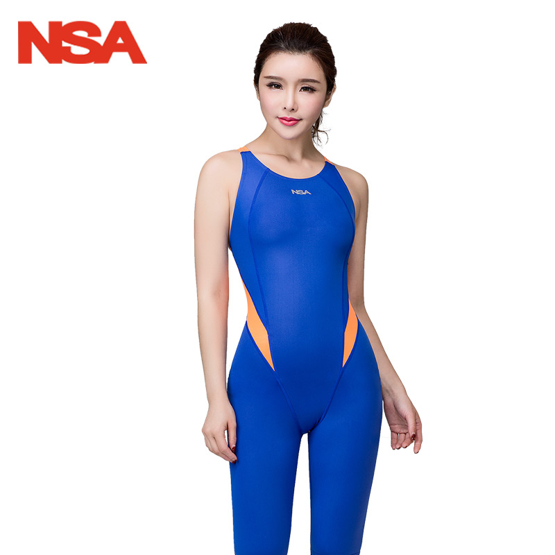 NSA Swimwear Women One Piece Swimsuit Arena Girls Swimming Competitive Plus Size Black Bathing Suit Knee New<br>