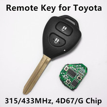 Remote Key for TOYOTA Camry Corolla Prado RAV4 Vios Car Key Auto Remote with4D67 or G Chip 315MHz
