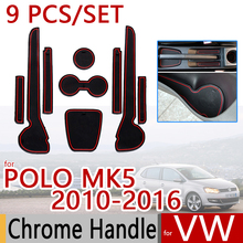 for VW POLO MK5 2010-2016 Anti-Slip Rubber Cup Cushion Door Mat 9pcs Volkswagen 6R 6C 2012 2014 Accessories Car Styling Sticker