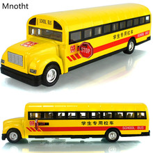 School Bus Alloy Diecast Car Model Sound&Light Toys Children's Gifts Orange Mini 1:32 Scale Pull Back Light Car Toy Model